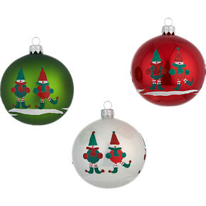Set of 3 Jingle Elf Ball Ornaments