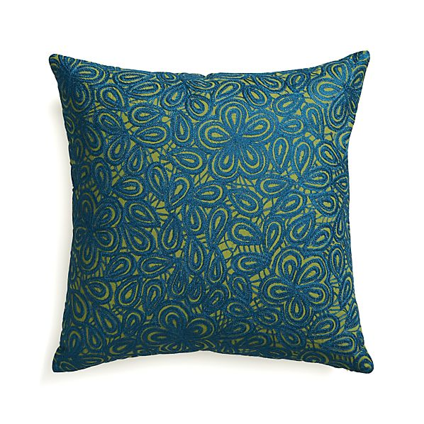 "Julian Blue 20"" Pillow with Down-Alternative Insert"
