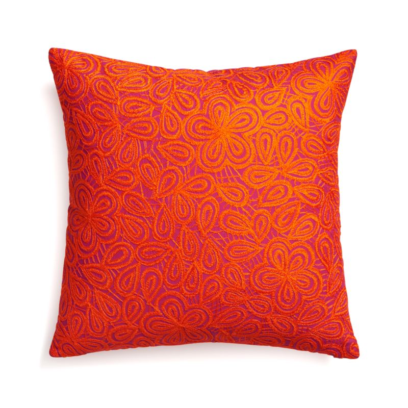 "Julian Orange 20"" Pillow with Feather Insert"