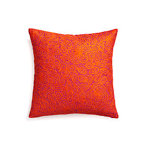 "Julian Orange 20"" Pillow with Down-Alternative Insert"