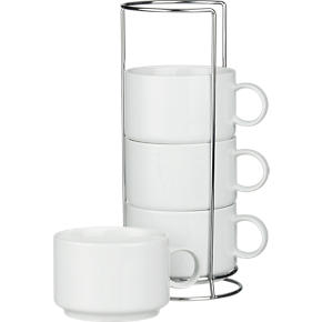 Set of 4 Jumbo Stacking Mugs with Metal Rack