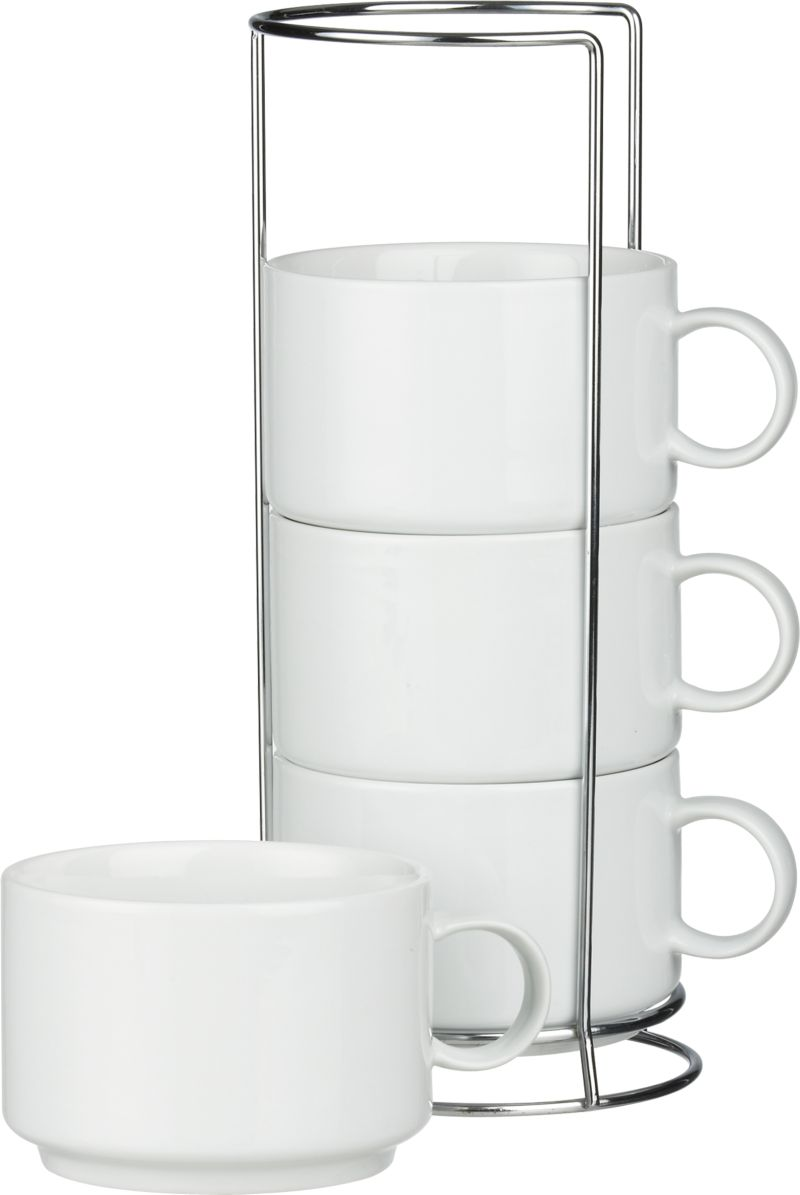 Our exclusive stacking jumbo-sized white porcelain mugs nest on counter or buffet in their own chrome-plated racks.<br /><br /><NEWTAG/><ul><li>Porcelain mugs</li><li>Chrome-plated iron racks</li><li>Mugs are dishwasher- and microwave-safe</li><li>Made in China</li></ul>
