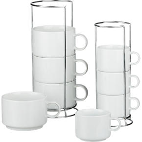 Jumbo Stacking Mugs and Stacking Coffee Mugs with Metal Racks