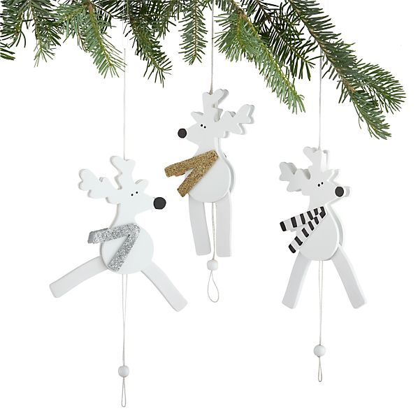 Set of 3 Jumping Jack Reindeer Ornaments