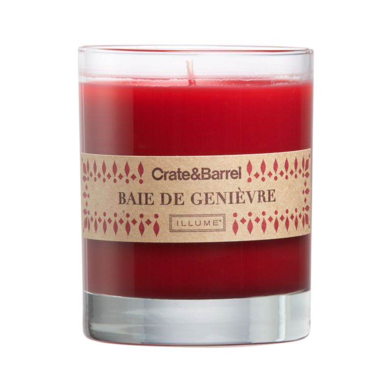 The crisp scent of fruity juniper wafts warm seasonal fragrance from red candle set in a clear glass.<br /><br /><NEWTAG/><ul><li>Food-grade paraffin wax</li><li>Cotton wick</li><li>Glass container</li><li>Scented</li><li>Burn time: 40 hours</li><li>Made in multiple countries</li></ul>
