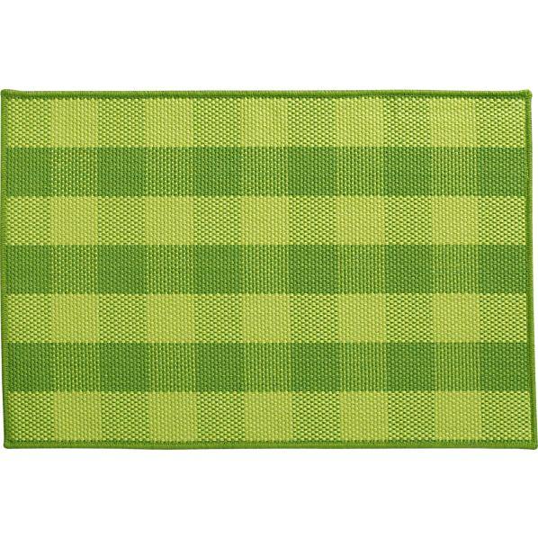 Jute Green Check Rug