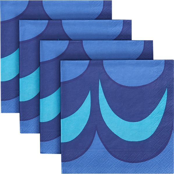 Set of 20 Marimekko Kaivo Blue Paper Luncheon Napkins
