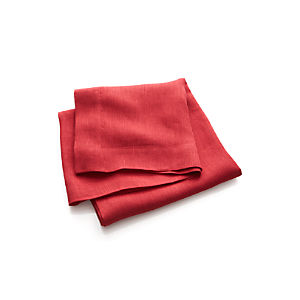 Kelsey Red Linen Tablecloth