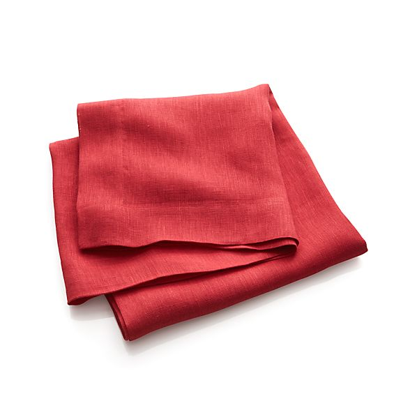 "Kelsey Red Linen 60""x120"" Tablecloth"