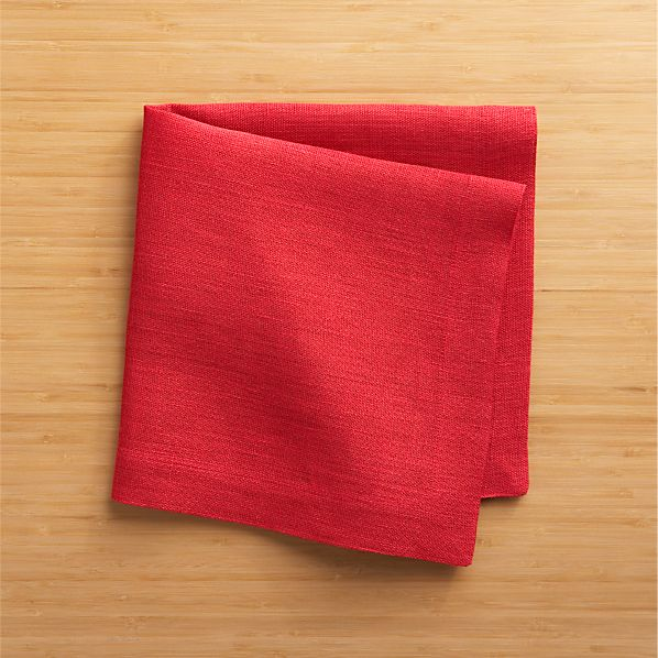 Set of 4 Kelsey Red Linen Napkins