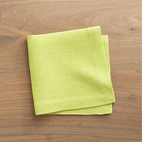 Set of 4 Kelsey Apple Green Linen Napkins