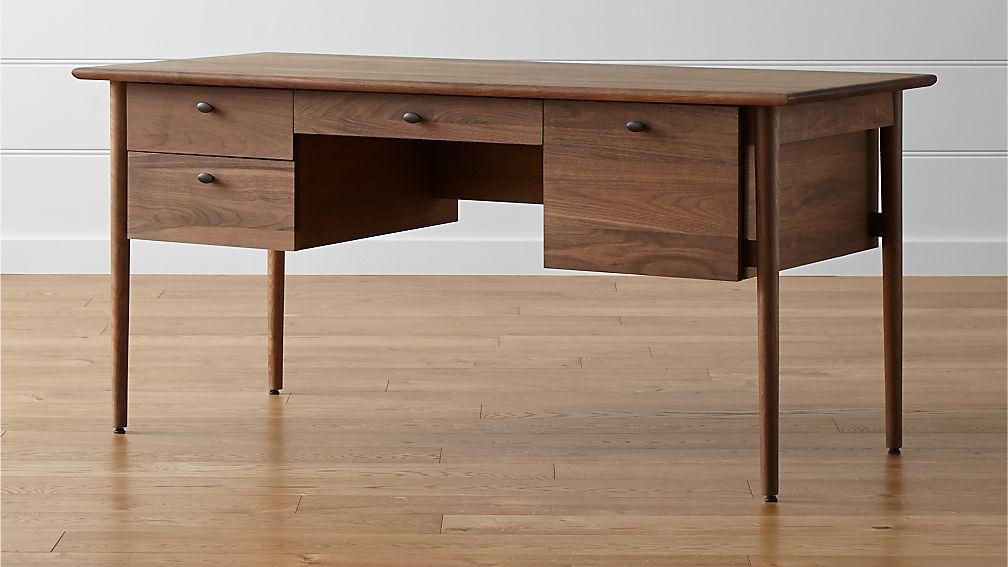 Kendall Walnut Desk In Desks