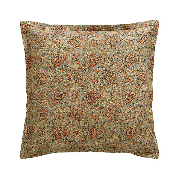 "Ketu Blue 23"" Pillow with Feather-Down Insert"