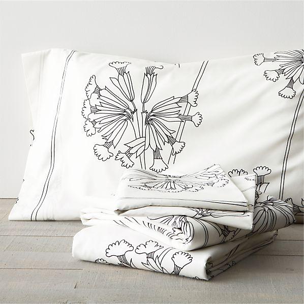 Marimekko Kevatesikko Black-White Full Sheet Set