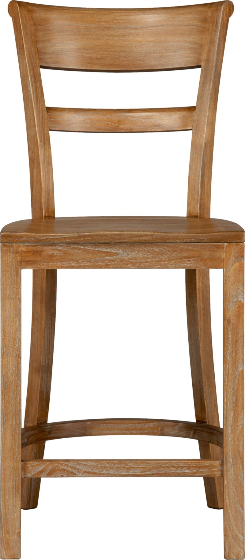 "Solid tropical sungkai wood seating pulls up to counter with ease and elegance. Barstool has graceful rolled back and comfortable contours to the seat. A soft-sheen lacquer adds a finishing detail.<br /><br /><NEWTAG/><ul><li>Solid tropical sungkai wood</li><li>Grey wash, clear protective lacquer finish</li><li>Contoured seat</li><li>24""H seat sized for counters</li><li>Made in Indonesia</li></ul>"