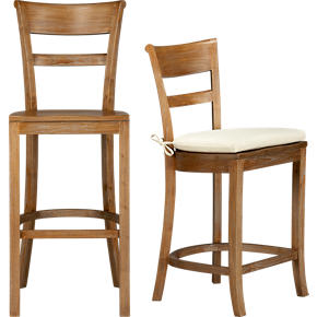 Kipling Grey Wash Barstools and Ivory Cushion