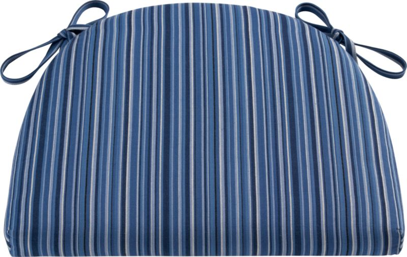 Tie on an extra layer of comfort custom fitted to our Kipling and Vintner side chairs and barstools. A cushy polyfill insert is surrounded by a 100% cotton cover in indigo stripe.<br /><br /><NEWTAG/><ul><li>100% cotton cover</li><li>High density polyester foam and fill</li><li>Tie attachments, zipper closure</li><li>Machine wash the removable cover</li><li>Made in India</li></ul>