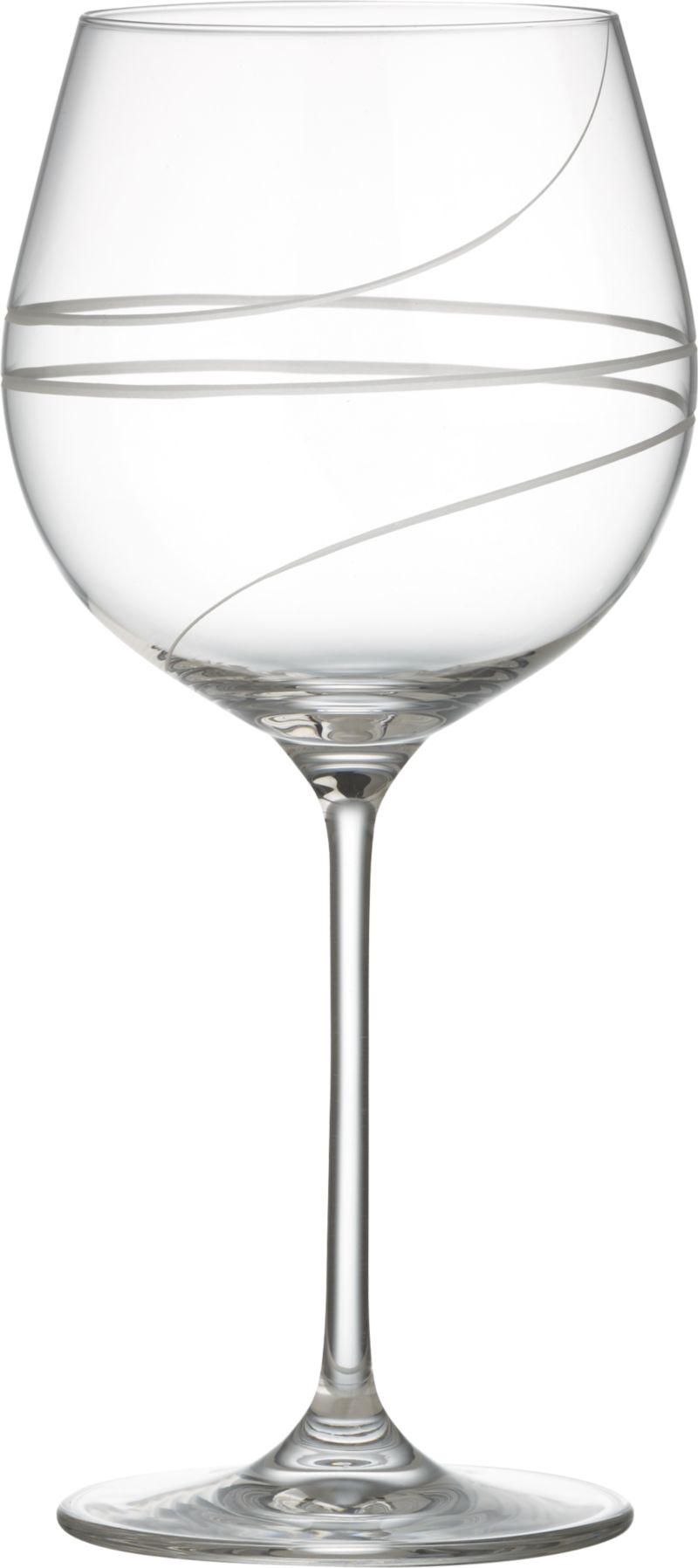 Elegant hand-engraved spirals add élan to the classic balloon wine glass. Modern machine-blown process mimics handblown glass at an affordable price.<br /><br /><NEWTAG/><ul><li>Clear glass</li><li>Hand-engraved and polished design</li><li>Diamond-cut and fire-polished rim</li><li>Hand wash</li><li>Made in Slovakia</li></ul>