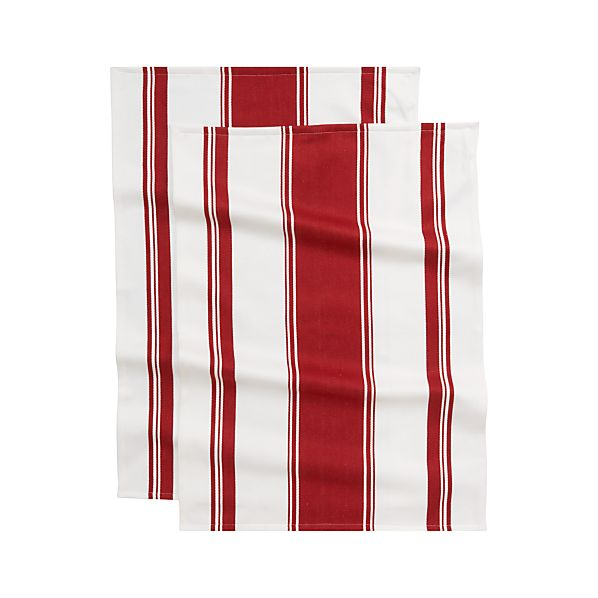 Set of 2 Kitchenette Red Dish Towels
