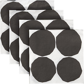 Set of 20 Marimekko Kivet Black and White Paper Luncheon Napkins