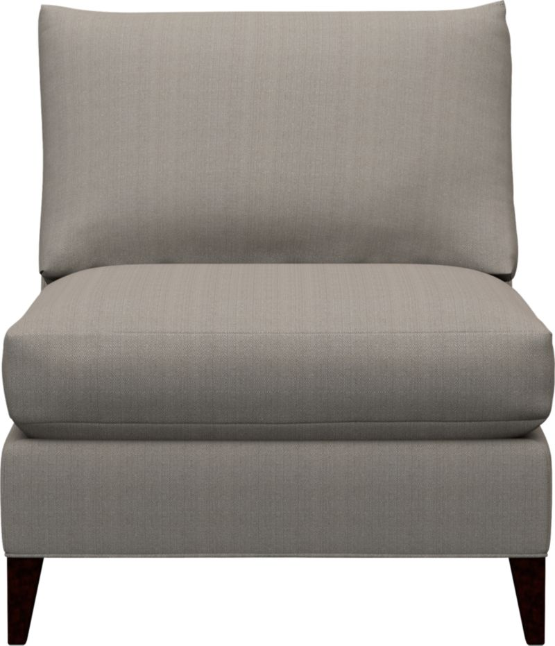 Our Klyne Armless Chair is a compact contemporary whose clean lines fill the room with attitude. Sleek profile makes for an even roomier experience. For the ultimate lounge, pull up the optional matching Klyne Ottoman.<br /><br />After you place your order, we will send a fabric swatch via next day air for your final approval. We will contact you to verify both your receipt and approval of the fabric swatch before finalizing your order.<br /><br /><NEWTAG/><ul><li>Eco-friendly construction</li><li>Certified sustainable kiln-dried hardwood frame</li><li>Seat cushion is soy- or plant-based polyfoam encased in synthetic ticking</li><li>Back cushion is fiber in synthetic ticking</li><li>Flexolator spring suspension</li><li>Hardwood legs with hickory finish</li><li>Upholstered in polyester</li><li>Benchmade</li><li>See additional frame options below</li><li>Made in North Carolina, USA</li></ul>
