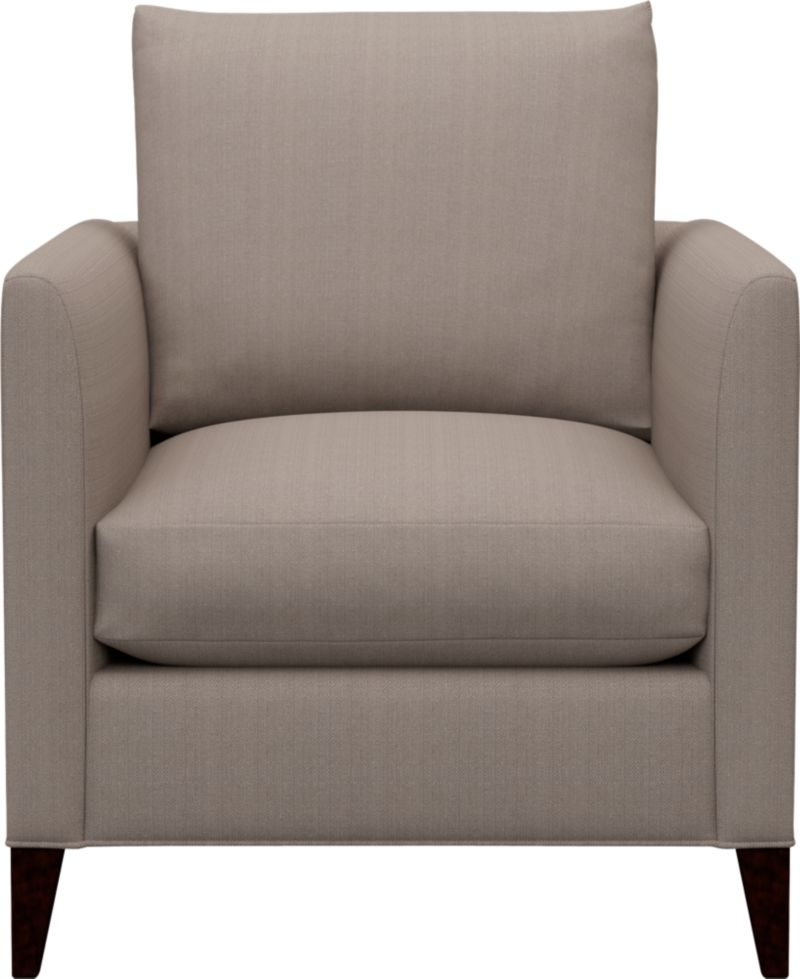 Our Klyne Chair is a compact contemporary whose clean lines fill the room with attitude. Narrow tapered arms cut a sleek profile and make for an even roomier experience. For the ultimate lounge, pull up the optional matching Klyne Ottoman.<br /><br />After you place your order, we will send a fabric swatch via next day air for your final approval. We will contact you to verify both your receipt and approval of the fabric swatch before finalizing your order.<br /><br /><NEWTAG/><ul><li>Eco-friendly construction</li><li>Certified sustainable kiln-dried hardwood frame</li><li>Seat cushion is soy- or plant-based polyfoam encased in synthetic ticking</li><li>Back cushion is fiber in synthetic ticking</li><li>Flexolator spring suspension</li><li>Hardwood legs with hickory finish</li><li>Upholstered in polyester</li><li>Benchmade</li><li>See additional frame options below</li><li>Made in North Carolina, USA</li></ul>