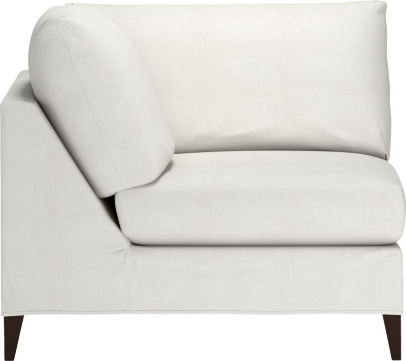 "Tailored to fit our Klyne seating, chic slipcover is fashioned slim and minimal to make the most of its narrow tapered arms, plump cushions and tapered legs.<br /><br />Additional <a href=""http://crateandbarrel.custhelp.com/cgi-bin/crateandbarrel.cfg/php/enduser/crate_answer.php?popup=-1&p_faqid=125&p_sid=DMUxFvPi"">slipcovers</a> available below and through stores featuring our Furniture Collection.<br /><br />After you place your order, we will send a fabric swatch via next day air for your final approval. We will contact you to verify both your receipt and approval of the fabric swatch before finalizing your order.<br /><br /><NEWTAG/><ul><li>89% cotton and 11% polyester</li><li>Machine wa"