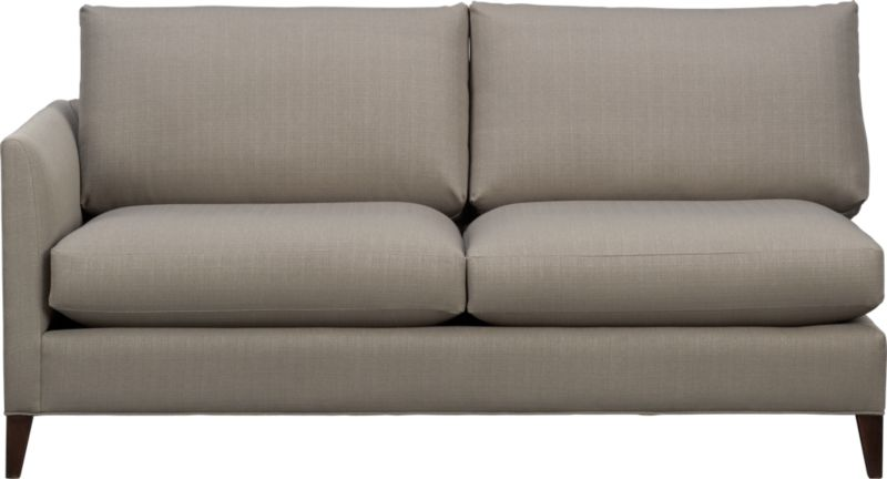 Klyne is a compact sofa whose warm grey lines refresh the room with a casual attitude. Narrow tapered arms cut a sleek profile and make for an even roomier experience. The perfect size for apartment and small space living.<br /><br />After you place your order, we will send a fabric swatch via next day air for your final approval. We will contact you to verify both your receipt and approval of the fabric swatch before finalizing your order.<br /><br /><NEWTAG/><ul><li>Eco-friendly construction</li><li>Certified sustainable kiln-dried hardwood frame</li><li>Seat cushions are soy- or plant-based polyfoam encased in synthetic ticking</li><li>Back cushions are fiber in synthetic ticking</li><li>Flexolator spring suspension</li><li>Hardwood legs with hickory finish</li><li>Upholstered in polyester</li><li>Benchmade</li><li>See additional frame options below</li><li>Made in North Carolina, USA</li></ul>