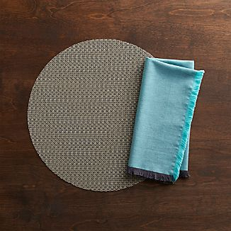 Chilewich® Knitty Neutral Placemat and Chambray Fringe Aqua/Grey Napkin