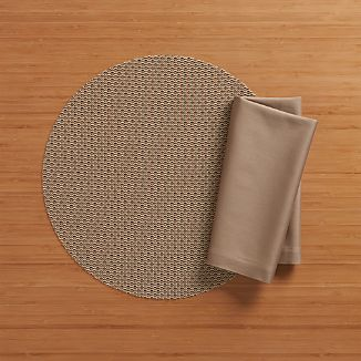 Chilewich ® Knitty Neutral Placemat and Fete Brindle Cotton Napkin