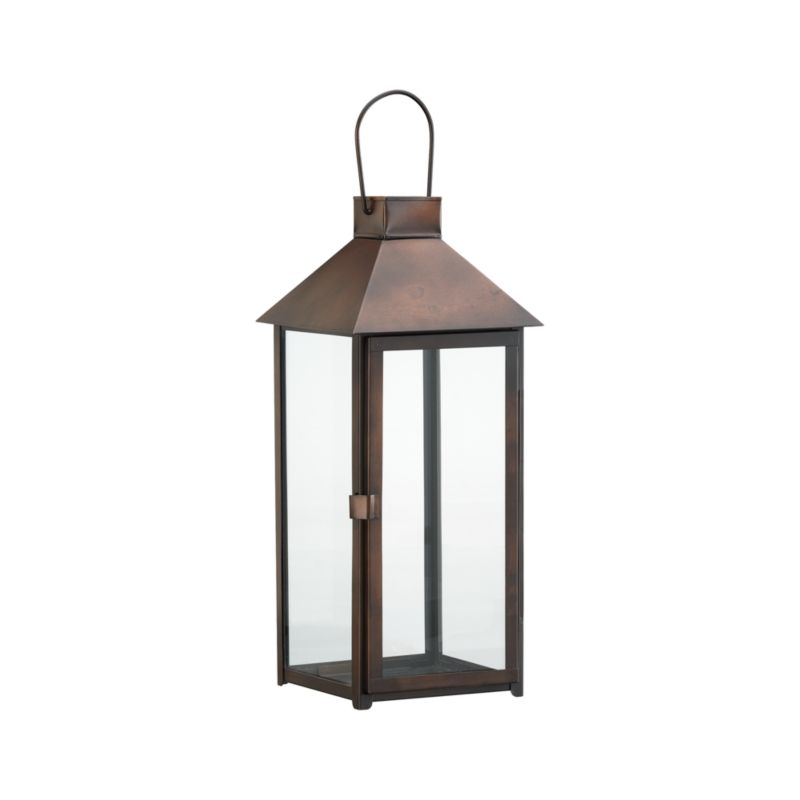 "Clean, oversized styling in antiqued bronze iron with glass panels, hinged door, and hanging handle.<br /><br /><NEWTAG/><ul><li>Glass and iron</li><li>Bronze finish</li><li>For indoor or outdoor use</li><li>Accommodates up to a 3""-diameter pillar candle, sold separately</li><li>Made in India</li></ul>"