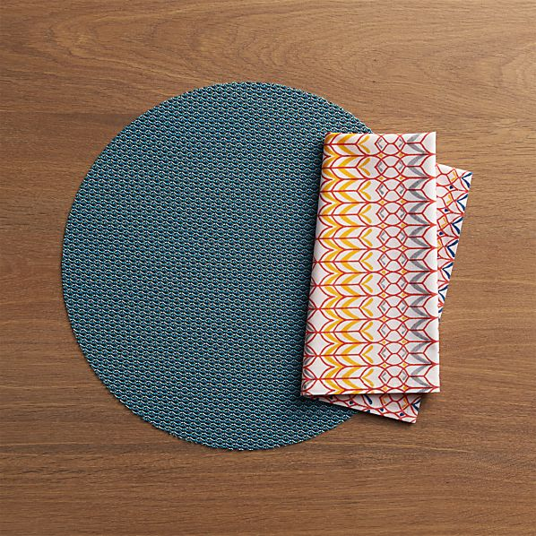 Chilewich® Knitty Blue Placemat and Palu Napkin
