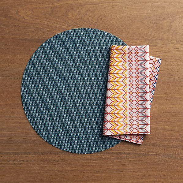 Chilewich ® Knitty Blue Placemat and Palu Napkin