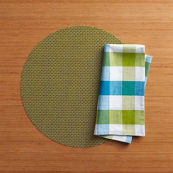 Chilewich® Knitty Green Placemat and Gingham Green-Blue Napkin