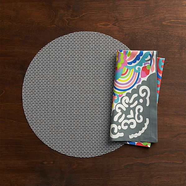 Chilewich® Knitty Grey Placemat and Carnivale Napkin