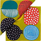 "Set of 20 Marimekko Kompotti Green and Multi Paper Napkins. 6.5"" sq."