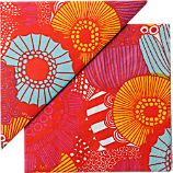 "Set of 20 Marimekko Kotipuutarha Red and Orange and Blue Paper 6.5"" Napkins"