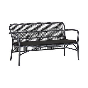 "Kruger Black 56"" Loveseat with Sunbrella® Black Cushion"
