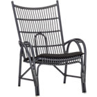 Kruger Black High Back Lounge Chair with Sunbrella® Black Cushion.