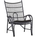 Kruger Black High Back Lounge Chair with Sunbrella® Black Cushion