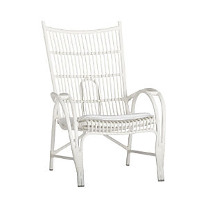 Kruger White High Back Lounge Chair with Sunbrella® White Cushion