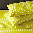 Marimekko Kullervo Citron Queen Sheet Set. Includes one flat sheet, one fitted sheet and two standard pillowcases.