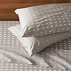 Marimekko Kullervo Grey King Sheet Set. Includes one flat sheet, one fitted sheet and two standard pillowcases.