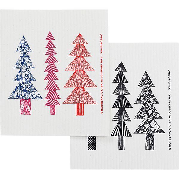 Set of 2 Marimekko Kuusikossa Dishcloths