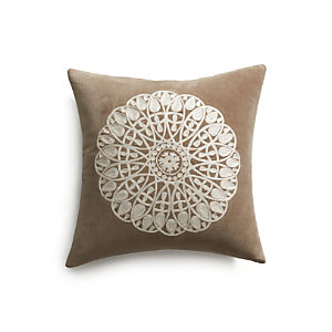 "Lace Snowflake 23"" Pillow with Feather-Down Insert"