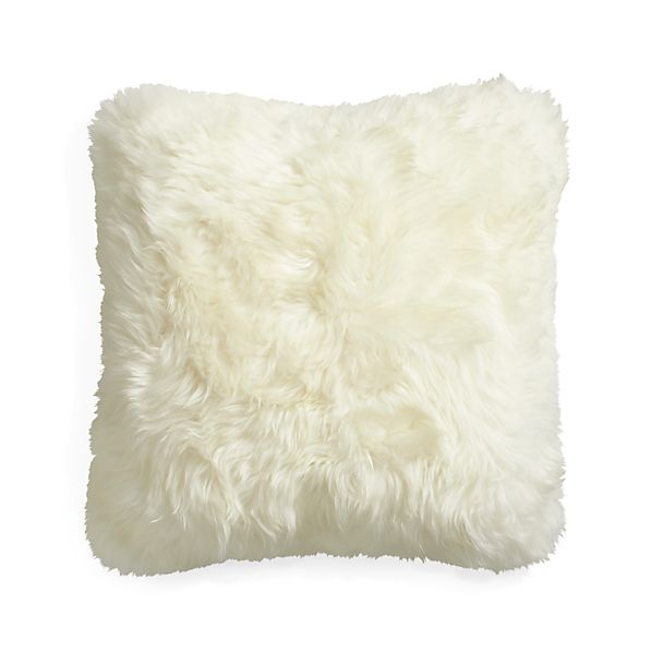 "Lambskin 16"" Pillow with Down-Alternative Insert"
