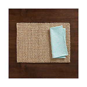 Lanai Placemat and Seersucker Aqua Napkin