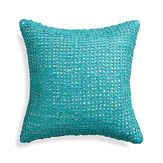 "Lanzo Aqua 18"" Pillow with Feather-Down Insert"