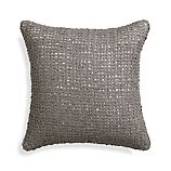 "Lanzo Grey 18"" Pillow with Feather-Down Insert"