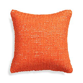 "Lanzo Orange 18"" Pillow with Feather-Down Insert"